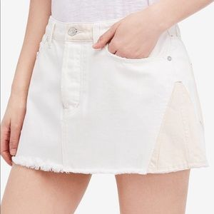 "NWT Free People ""Patched Up Ivory"" Mini Skirt"